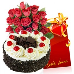 1 Kg Cake, Flowers & Card