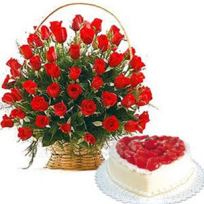 50 Red Roses and 1 Kg Heart Cake