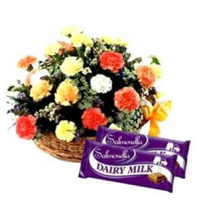 15 Carnation Flowers with Chocolates