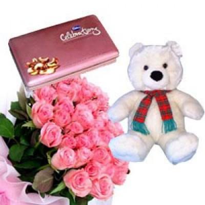 10 Pink Roses, Teddy, Chocolates