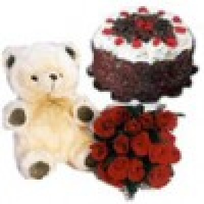 Cake Teddy Flowers