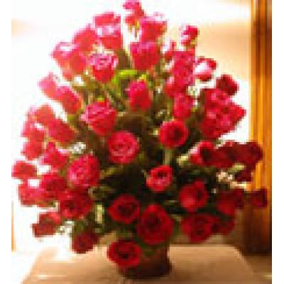 50 Red Roses Basket