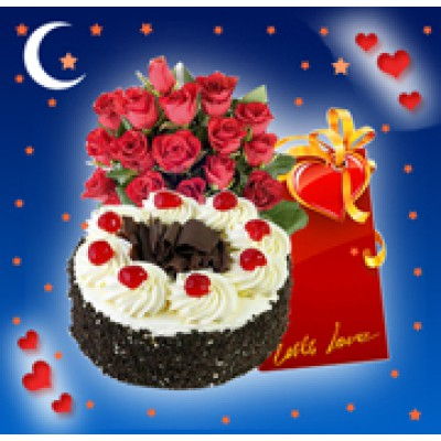 1 Kg Cake, Flowers and Card