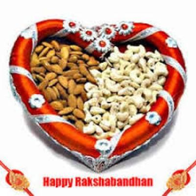 Heart Shape Thali rakhi with dryfruits thali