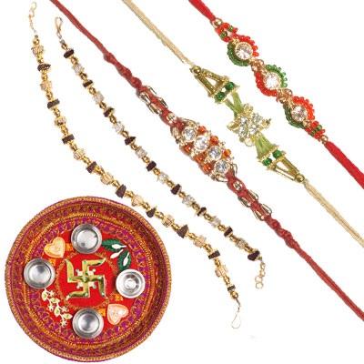 Rakhi thali n 5 rakhis