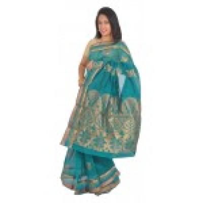 Sea Green Silk Cotton Saree