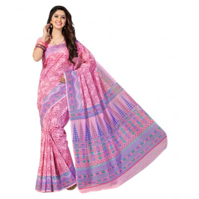 Cute Pink Cotton Saree